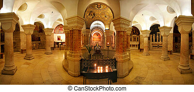 Interior panoramic view of Church of Dormition.