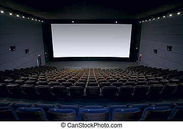 interior, pantalla, asientos, cine