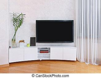 interior, pantalla de tv, plano