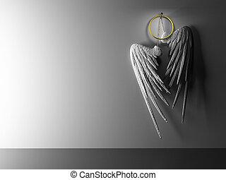 interior, par, branca, asas, hinging, ligado, parede