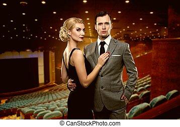 interior, pareja, teatro