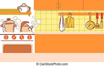 interior, parte, cozinha