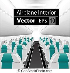 interior, passageiro, avião