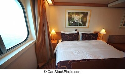 interior passenger cabin bedroom in cruise liner, horizontal panning