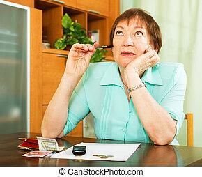 interior, pensionista, trabajo, financiero, hembra