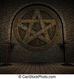 interior, pentagram, plano de fondo