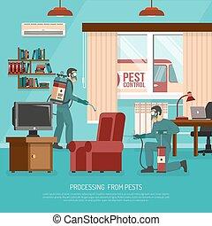 Interior Pest Control Treatment Flat Advertisement Poster
