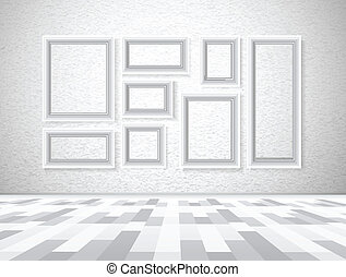 Interior picture frames on white wall. Vector illustration