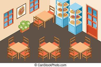 interior, pizzeria