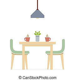interior, plano, cenar, diseño, room.