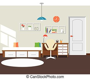 interior, plano, moderno, diseño, dormitorio