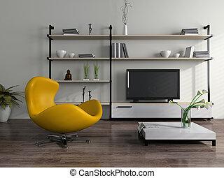 interior, poltrona, modernos, amarela