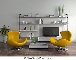 interior, poltronas, modernos, amarela