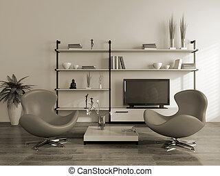 interior, poltronas, modernos, (sepia)