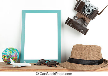 Interior poster mock up with vertical wooden frame, travel theme, on white wall background