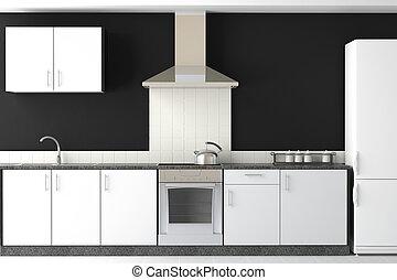 interior, pretas, modernos, desenho, cozinha