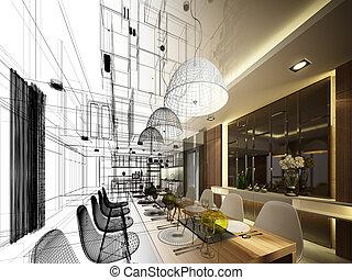 interior, projeto abstrato, esboço