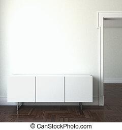 interior, puerta, estantes