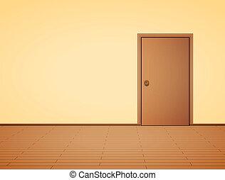 interior, puerta, pálido