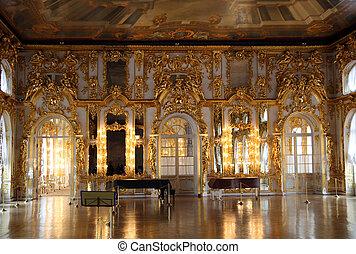 interior, pushkin, palacio, vestíbulo