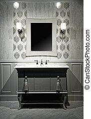 interior, quadro, banheiro