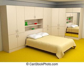 interior, quarto, cosy, 3d