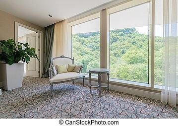 interior, quarto moderno, mobília