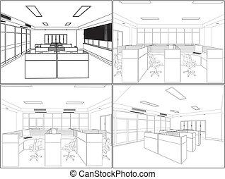interior, quartos, escritório