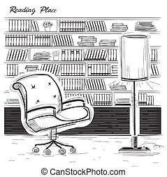 Interior reading room. Vector black sketchy illustration on white