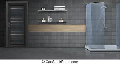 interior, realista, cuarto de baño, vector, plano de fondo