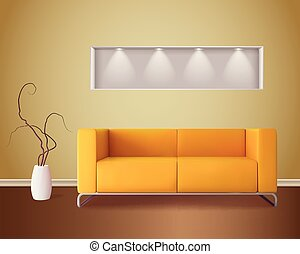 Interior Realistic Image - Modern living room interior with...