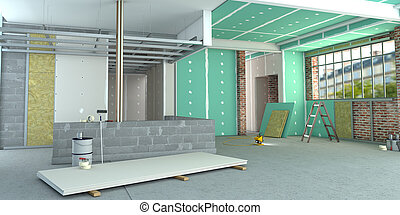 3D rendering of an interior in renovation process