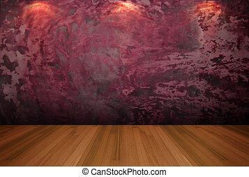 empty room red cement wall