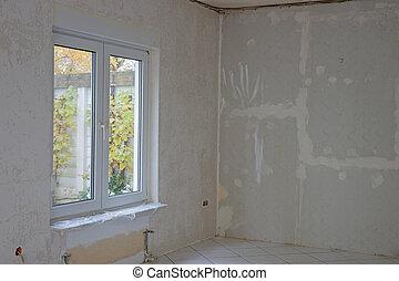 interior, renovação, sala, sob