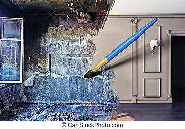 interior renovation - brush, drawing beautiful interior over...