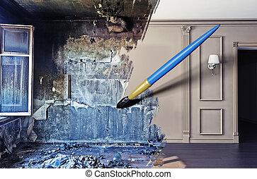 interior renovation brush drawing beautiful interior over interior renovation clip artby