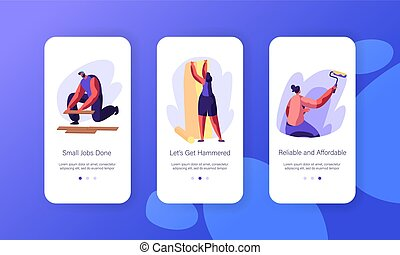 Interior Renovation Decor Mobile App Page Onboard Screen Set. Handyman Lying Wooden Parquet. Woman Gluing Wallpaper. Person Paint Wall Website or Web Page. Flat Cartoon Vector Illustration