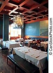 interior restaurant decoration warm wood ceiling elegant deco