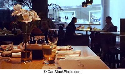 Interior restaurant silhouettes of people dinner - Interior...