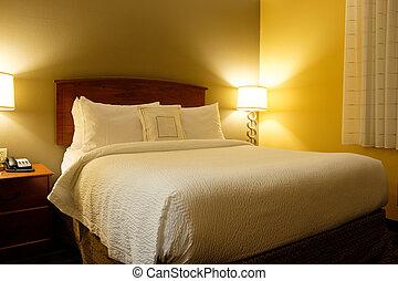 interior, rey, habitación de hotel, cama
