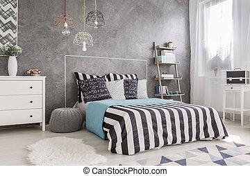interior, rey, tamaño, cama, dormitorio