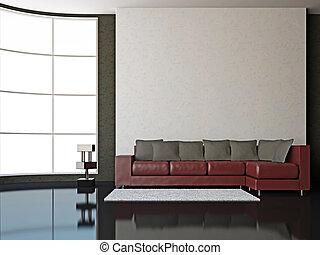 Interior room - A room interior with sofa near big window