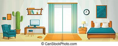 Interior room concept background, cartoon style