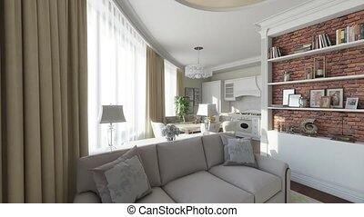 interior room domestic flytrough 3d render