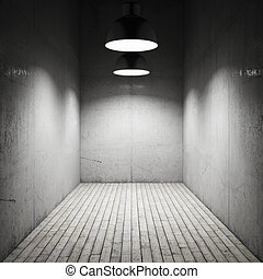 Interior room illuminated by lamps made ??of concrete
