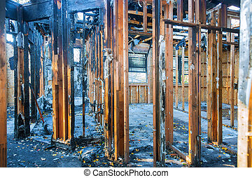 Interior room of the house after a fire