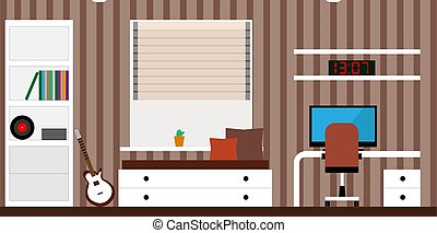 interior room with a bed, a computer desk, a guitar. Vector illustration