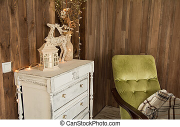 Interior room with chest of drawers and an old chair
