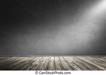 Interior room with dirty concrete wall and wooden floor. 3d rendering illustration