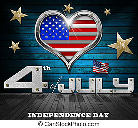 "Interior room with metal porthole heart shape with US flag interior and inscription ""4th of July - Independence Day"""